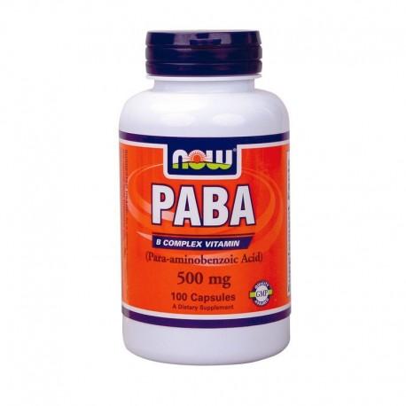 Paba 500mg (παρα-αμινοβενζοϊκό οξύ) 100caps, Now