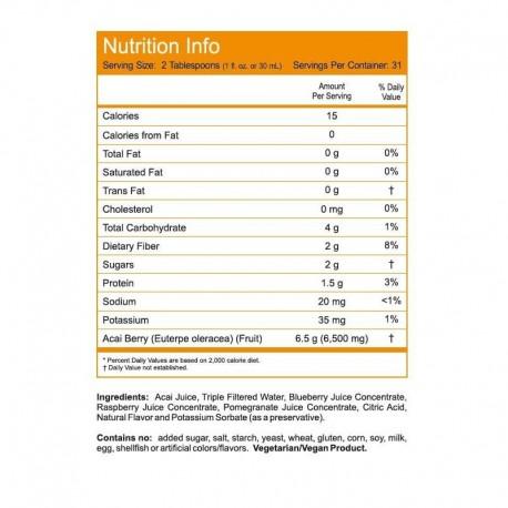 Μείγμα Χυμών Ακάι Plus 32 Oz (909 ml), Now