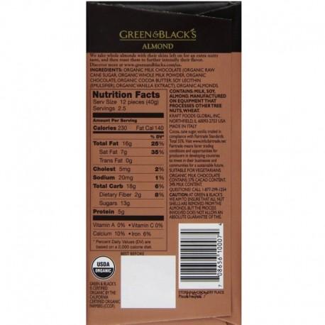 Βιολογική Σοκολάτα Γάλακτος με Ολόκληρα Αμύγδαλα 100γρ