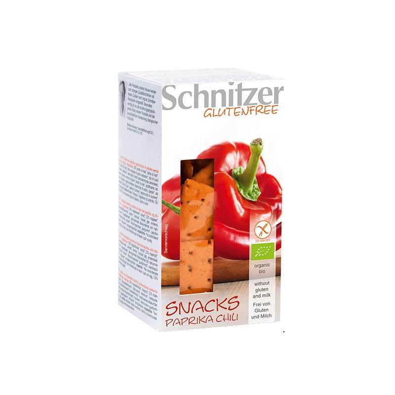 Βιολογικό Σνακ Καλαμποκιού με Άρωμα Πάπρικα & Τσίλι Χωρίς Γλουτένη 100γρ., Schnitzer