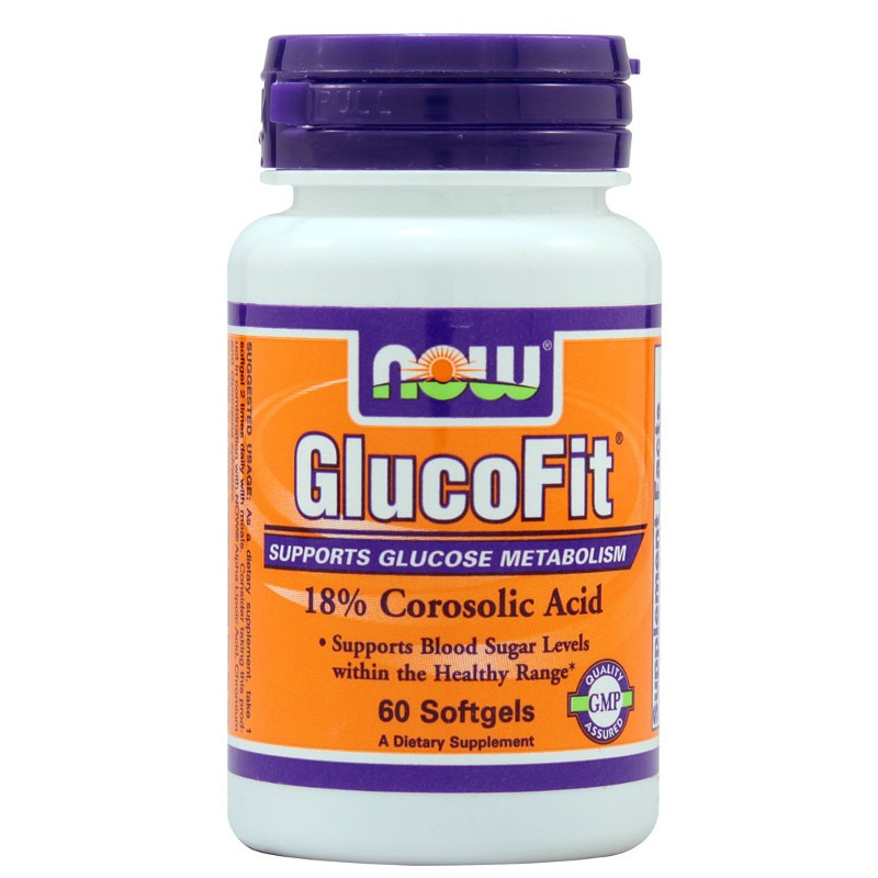 Glucofit - 18% Corosolic Acid 60 Softgels, Now Foods