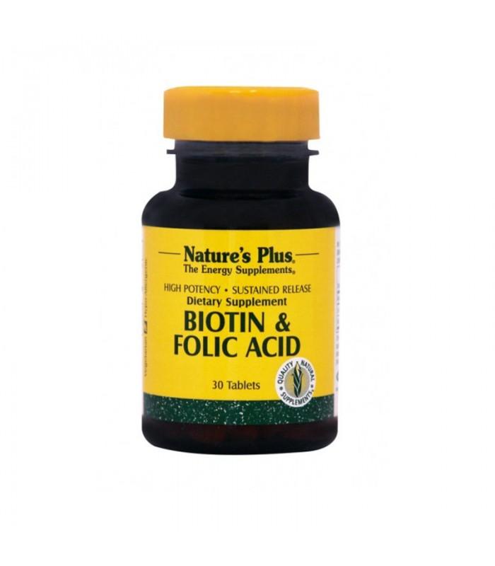 Βιοτίνη & 2000mcg & Φολικό Οξύ 30 ταμπλέτες 800mcg., Nature's Plus