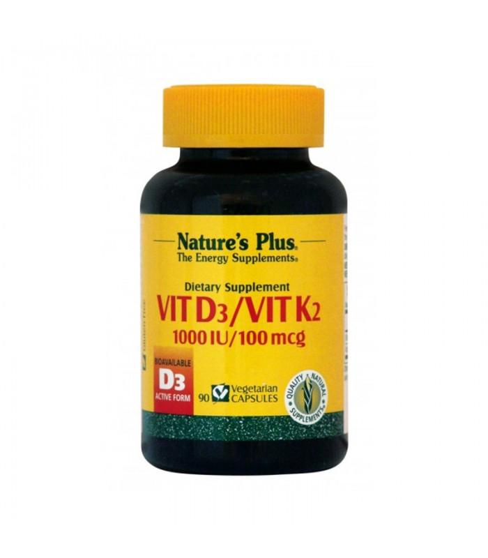 Βιταμίνη D3 10000 IU & K2 90 κάψουλες 100mcg, Nature's Plus