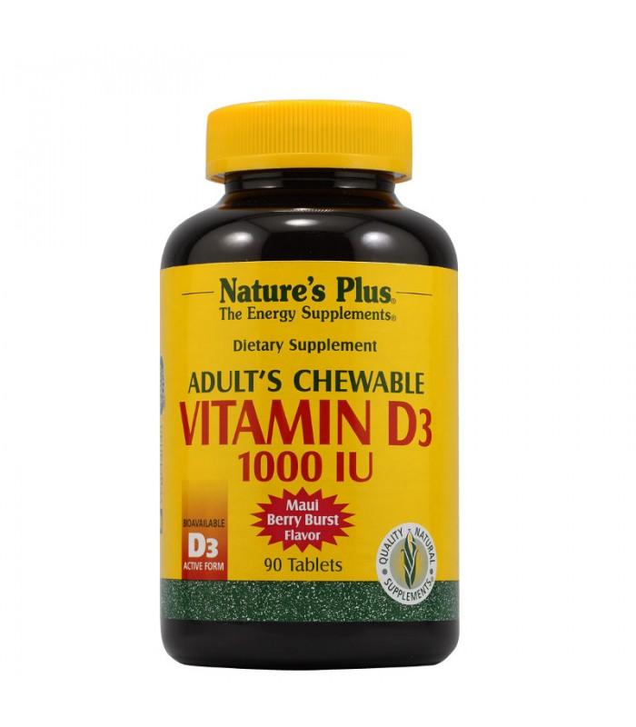 Βιταμίνη D3 Μασώμενες Ταμπλέτες Ενηλίκων 90τ., Nature's Plus