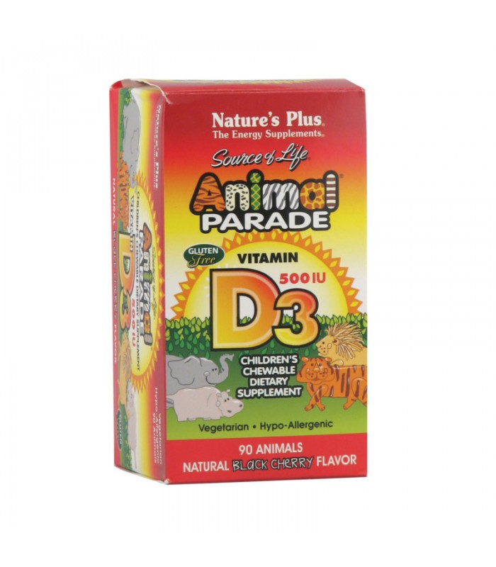 Animal Parade Βιταμίνη D3 500IU 90 Μασώμενες ταμπλέτες, Nature's Plus