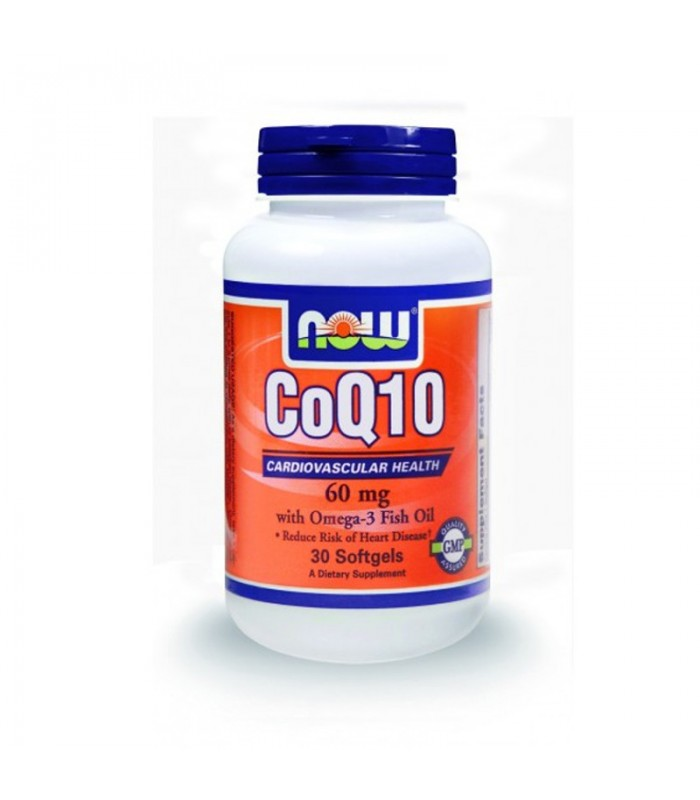 CoQ10 60 mg w/ 250mg Ωμέγα-3 & 200mg Λεκιθίνη (Μη-ΓΤΟ) - 30 Softgels, Now