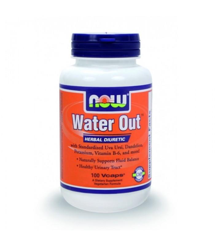 WATER OUT Φυτικό Διουρητικό (Standarized Uva Ursi, B-6, Πικραλίδα, Χρυσόβεργα, Κάλιο), 100 Vcaps, Now