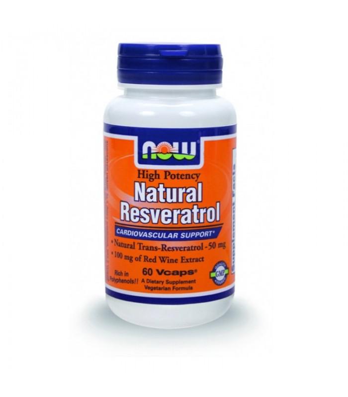 Natural Resveratrol (+Κόκκινο Κρασί, Πράσινο Τσάι και Εκχυλίσματα Σπόρων Σταφυλιού ) - 60 Vcaps, Now