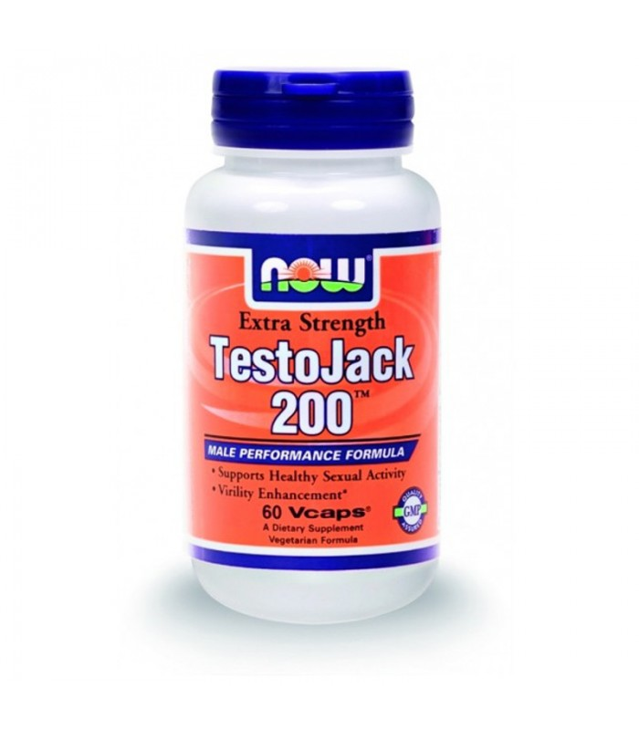 Testo Jack 200, 200 mg w/ Tongkat Ali, Horny Goat Weed - 60 Vcaps, Now
