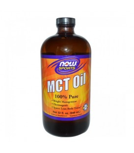 MCT Oil, 100% Pure (in Glass) - Vegeterian 32 oz (946,2ml), Now