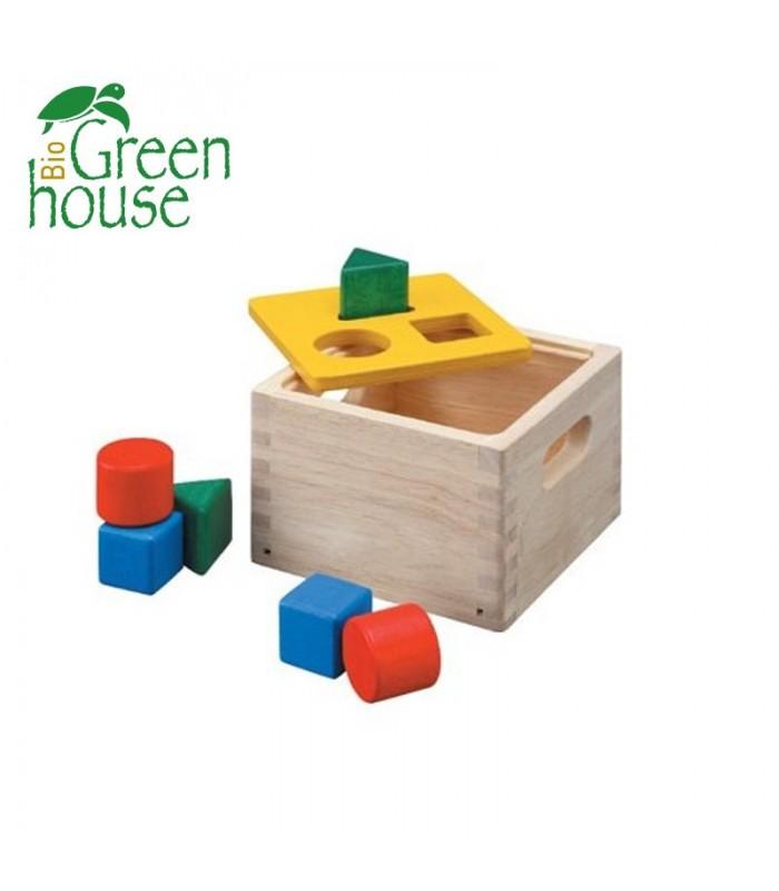 Ξύλινο Κουτί με Γεωμετρικά Σώματα, Plantoys