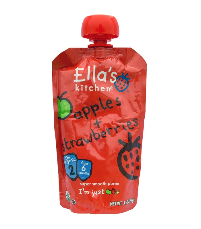Βιολογικός Πολτός από Φράουλες & Μήλα Bio 120γρ., Ella's Kitchen
