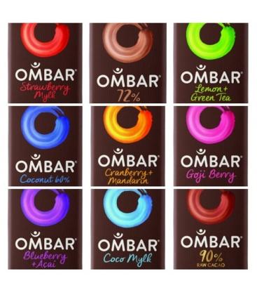 Βιολογική Σοκολάτα Ωμοφαγική με Κράνμπερυ & Μανταρίνι 38γρ., Ombar