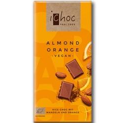 Βιολογική Σοκολάτα Ρυζιού με Αμύγδαλο & Πορτοκάλι Bio 80γρ., Ichoc