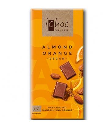 Σοκολάτα Ρυζιού με Αμύγδαλο & Πορτοκάλι 80γρ. Βιολογική Ichoc