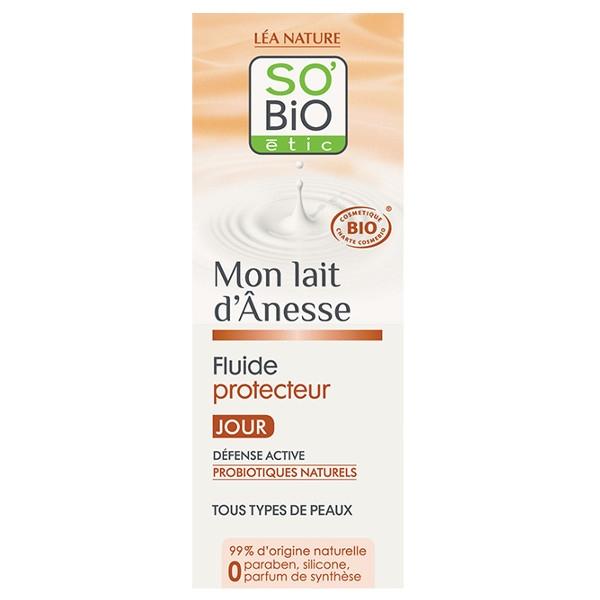 Βιολογική Κρέμα Ημέρας Ενυδατική Fluide με Γάλα Γαϊδούρας & Προβιοτικά 50ml, So Bio