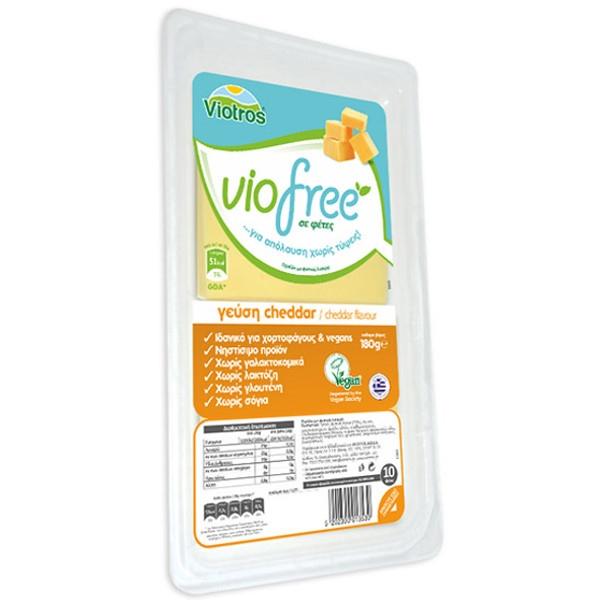 Φυτικό Τυρί σε Φέτες Cheddar Viofree 180γρ., Ελληνικό, Viotros