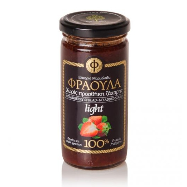 Ελαφριά Μαρμελάδα Φράουλα 100% φρούτο Χωρίς Ζάχαρη 270γρ., Ελληνική, Γεωδή