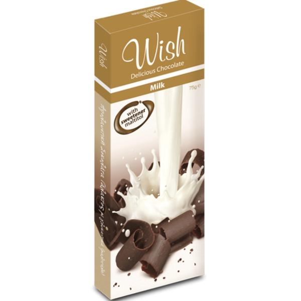 Σοκολάτα Γάλακτος Χωρίς Ζάχαρη 75γρ., Ελληνική, Wish