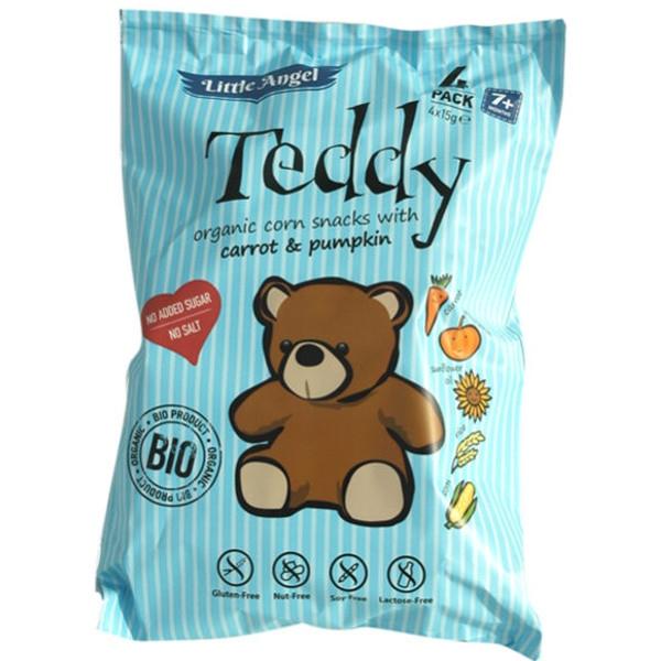 Βιολογικό Γαριδάκι Αρκουδάκι με Καλαμπόκι, Καρότο & Κολοκύθα Χωρίς Γλουτένη 30γρ. Teddy, Little Angel