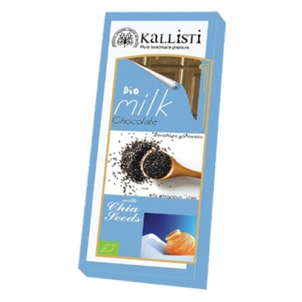 Βιολογική Σοκολάτα Γάλακτος με Chia Bio 50γρ., Ελληνική, Kallisti