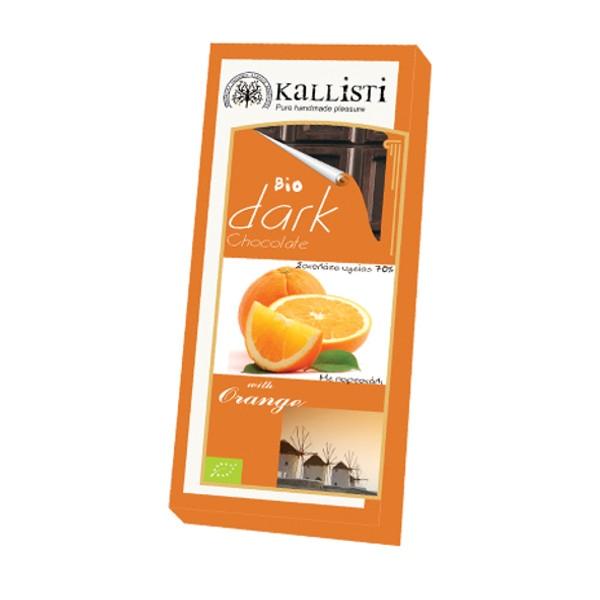 Βιολογική Σοκολάτα Υγείας με Πορτοκάλι Bio 50γρ., Ελληνική, Kallisti