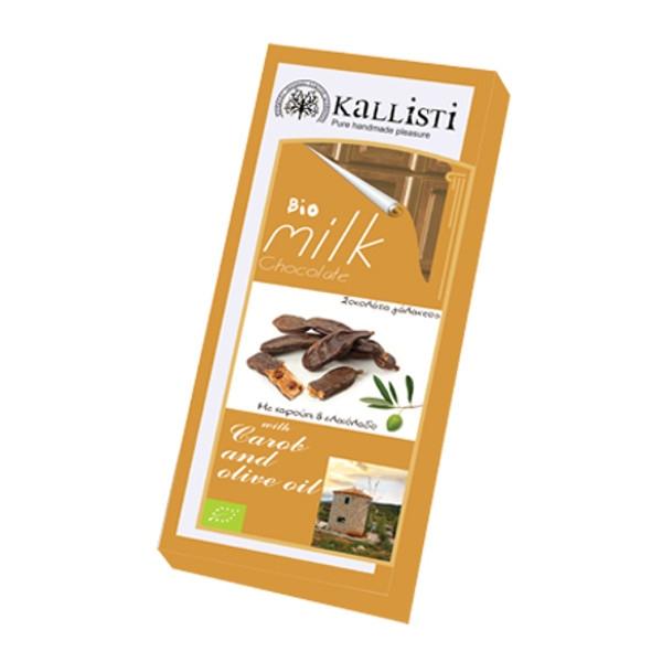 Βιολογική Σοκολάτα Γάλακτος με Χαρούπι & Ελαιόλαδο Bio 50γρ., Ελληνική, Kallisti