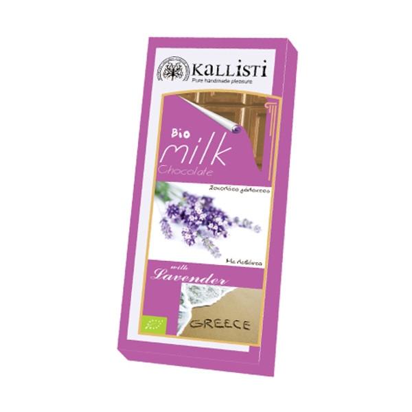 Βιολογική Σοκολάτα Γάλακτος Λεβάντα Bio 50γρ., Ελληνική, Kallisti