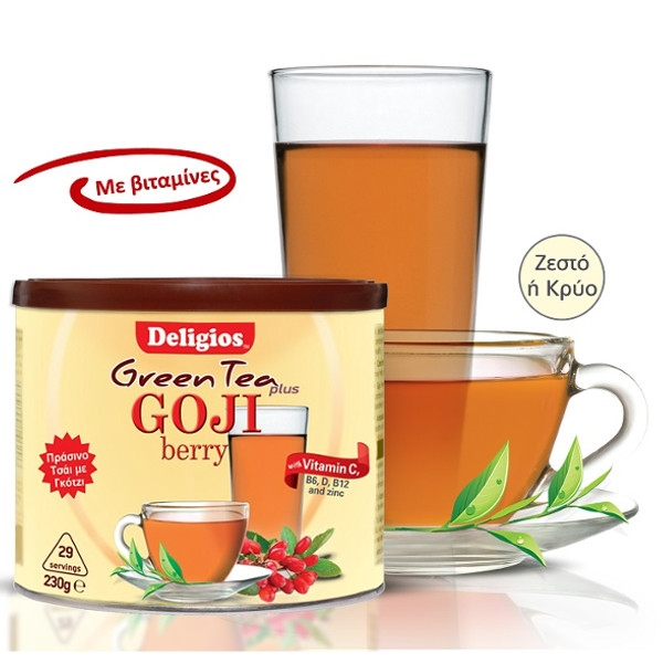Green Tea Plus με Γκότζι 230γρ., Deligios