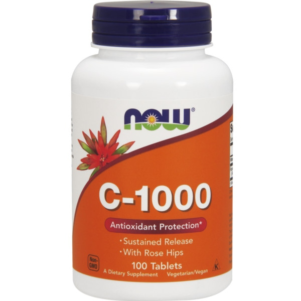 Βιταμίνη C-1000 w/ ROSE HIPS Βραδείας Αποδέσμευσης 100 Tabs Now Foods