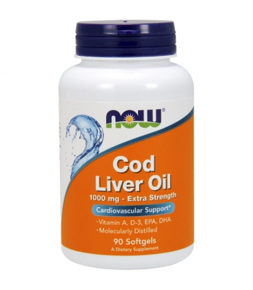 Μουρουνέλαιο Cod Liver Oil Extra Strength 1,000 mg - 90 Softgels Now Foods
