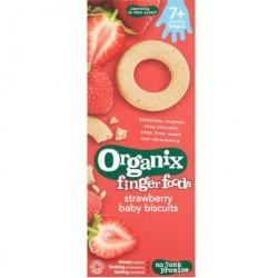 Βιολογικά Μπισκοτάκια Δαχτυλιδάκια Φράουλας Bio 54γρ., Organix