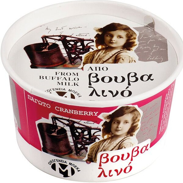 Παγωτό Κράνμπερυ από Βουβαλίσιο Γάλα 400γρ., Ελληνικό, Οικογένεια Μπέκα