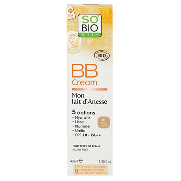 Βιολογική BB cream με Γάλα Γαϊδούρας 01/ Ανοιχτό Μπέζ 40ml, So Bio