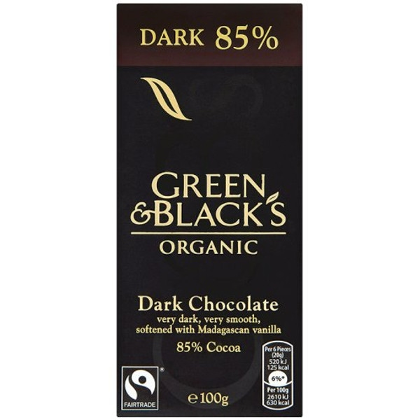 Βιολογική Σκούρη Σοκολάτα με 85% Κακάο Bio 100γρ., Green & Blacks