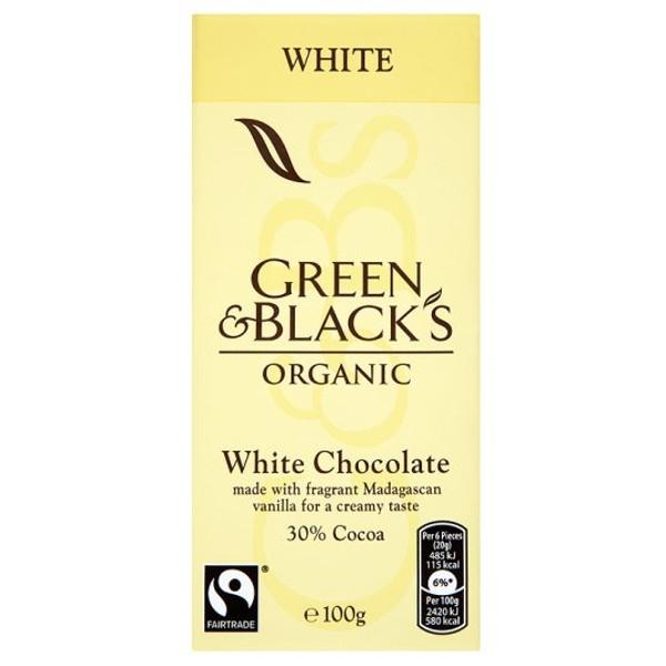 Βιολογική Λευκή Σοκολάτα 90γρ., Green & Blacks