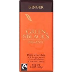 Βιολογική Μαύρη Σοκολάτα με Τζίντζερ Bio 100γρ., Green & Blacks
