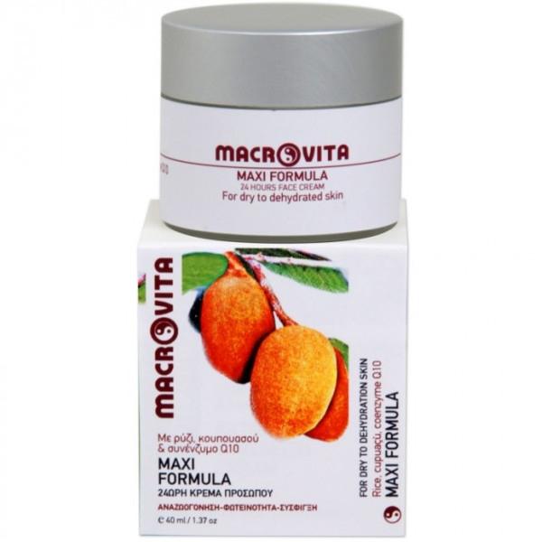 Maxi Formula 24ωρη Κρέμα Προσώπου με Ρύζι, Κουπουασού & Συνένζυμο Q10 40ml, Ελληνική, Macrovita