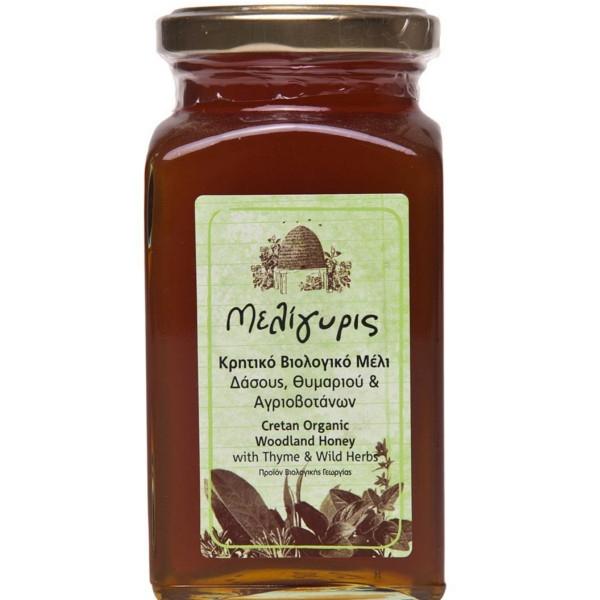 Βιολογικό Μέλι Δάσους, Θυμαριού και Αγριοβοτάνων 450γρ., Ελληνικό, Μελίγυρις