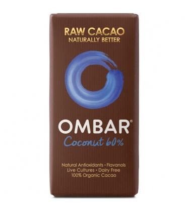 Βιολογική Σοκολάτα Ωμοφαγική με Καρύδα & Προβιοτικά 38γρ., Ombar