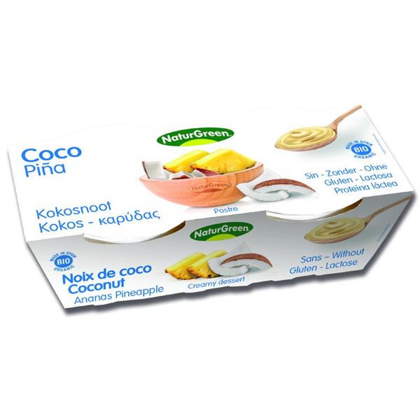 Βιολογικό Επιδόρπιο Καρύδας με Ανανά 2x125γρ., Naturgreen