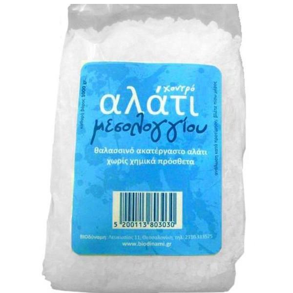 Θαλασσινό Αλάτι Μεσολογγίου Χονδρό 1 κιλό, Ελληνικό, Βιοδύναμη