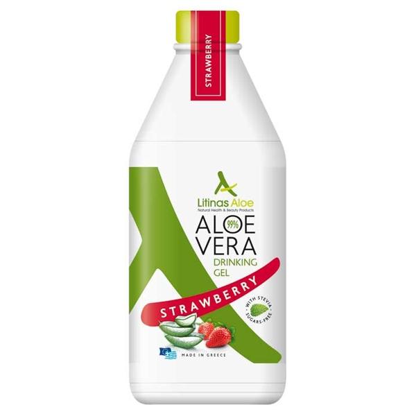 Βιολογικός Χυμός Τζελ Αλόης Φράουλα Bio 500ml, Ελληνικός, Litinas Aloe