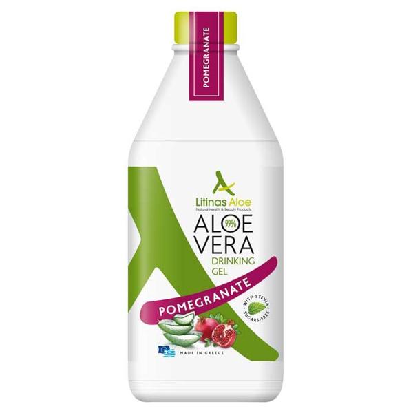 Βιολογικός Χυμός Τζελ Αλόης Ρόδι Bio 500ml, Ελληνικός, Litinas Aloe
