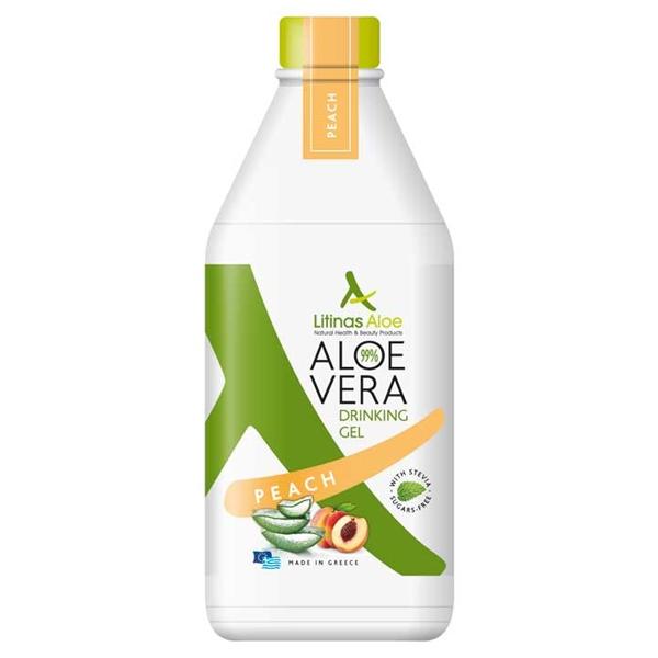 Βιολογικός Χυμός Τζελ Αλόης Ροδάκινο Bio 500ml, Ελληνικός, Litinas Aloe