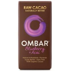 Βιολογική Σoκολάτα Ωμοφαγική με Acai & Blueberry 38γρ., Ombar