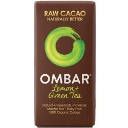 Βιολογική Σοκολάτα Ωμή με Πράσινο Τσάι & Λεμόνι Bio 35γρ., Ombar