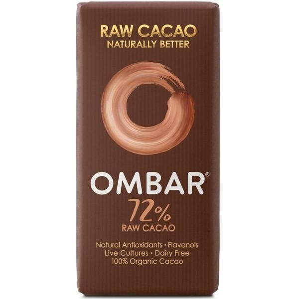 Βιολογική Σοκολάτα Ωμοφαγική Μαύρη 72% Kακάο με Προβιοτικά 38γρ., Ombar