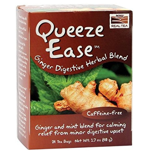 Queeze Easy, Digestion Relief - 24 Tea Bags, Now Real Tea