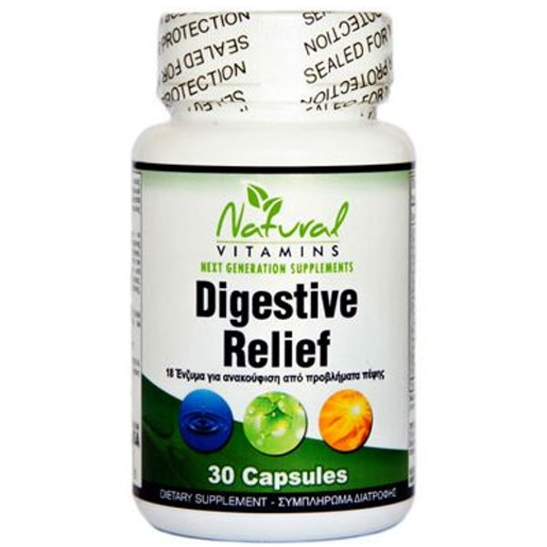 Digestive Relief (Ανακούφιση της Πέψης) 30 caps Natural Vitamins